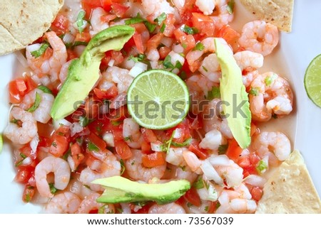 camaron shrimp ceviche raw seafood salad Mexico chili sauces - stock photo
