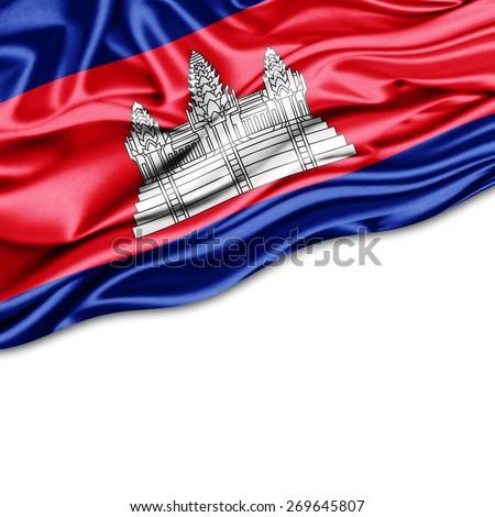 Cambodia flag and white background - stock photo