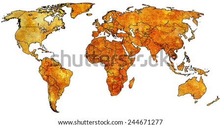 cambodia flag on old vintage world map with national borders - stock photo