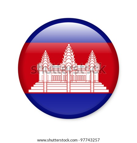 Cambodia - glossy button with flag - stock photo