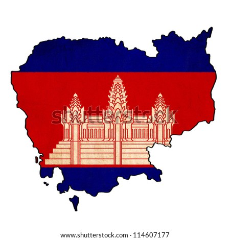 Cambodia map on Cambodia flag drawing ,grunge and retro flag series - stock photo