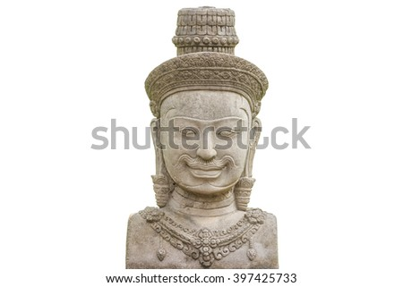 cambodia statue on white - stock photo