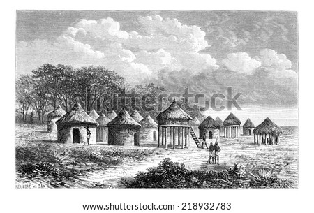Cambouta Village, in Angola, Southern Africa, drawing by De Bar based on the English edition, vintage illustration. Le Tour du Monde, Travel Journal, 1881 - stock photo