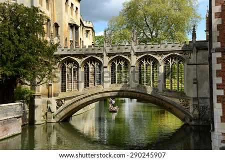 CAMBRIDGE, ENGLAND - MAY 13: Elegant 19thC Bridge of Sighs, Cambridge , England spanning the Cam River between the Courts of St Johns College on May 13, 2015 - stock photo