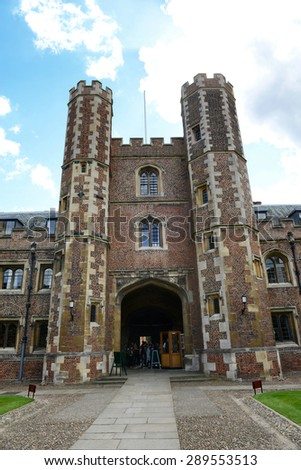 CAMBRIDGE, ENGLAND - MAY 13: Tower of Second Court, an Example of Tudor Architecture, Leading to Third Court on Campus, St Johns College, University of Cambridge, England on May 13, 2015 - stock photo