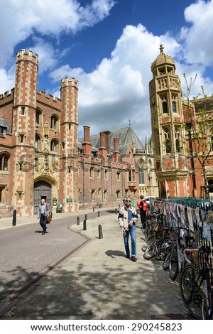 CAMBRIDGE, ENGLAND - MAY 13: View of Pedestrians or Students Walking Along St Johns Street Looking Toward Main Gate of St Johns College, University of Cambridge, England on May 13, 2015 - stock photo