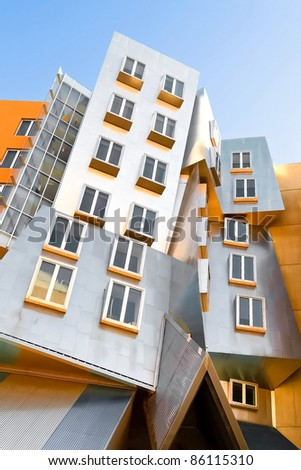 CAMBRIDGE,MA - FEB 1: Unique and distinctive modern architecture Frank O Gehry's Stata Center building at the Massachusetts Institute of Technology on February 1, 2010 in Cambridge, Massachusetts, USA - stock photo