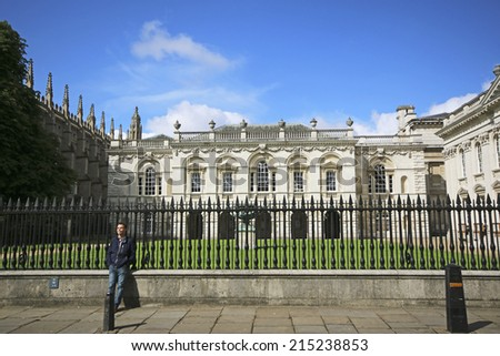 CAMBRIDGE, UK - AUGUST  15, 2014: Old Houses. Cambridge is the home of the University of Cambridge, founded in 1209 and ranked one of the world's top five universities  - stock photo
