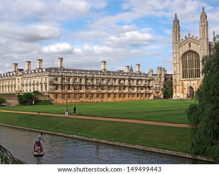 Cambridge University, King's College viewed from across the river Cam - stock photo