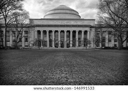 CAMBRIDGE, USA - JULY 18: Building of the MIT in Cambridge, MA on July 18, 2013. Its Alumni program created so many companies that their revenues together represent the eleventh economy in the word. - stock photo