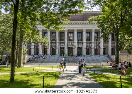 CAMBRIDGE, USA - JULY 18: The Harvard University, established in 1636, is the oldest institution of higher learning and the first chartered in the USA as seen on July 18, 2013 in Cambridge, MA, USA. - stock photo