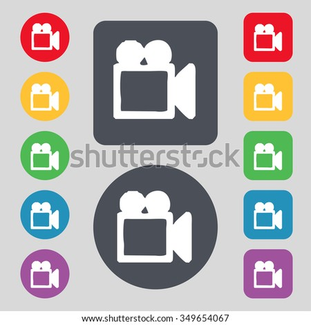camcorder icon sign. A set of 12 colored buttons. Flat design. illustration - stock photo