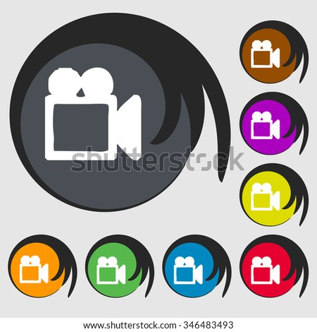 camcorder icon sign. Symbol on eight colored buttons. illustration - stock photo