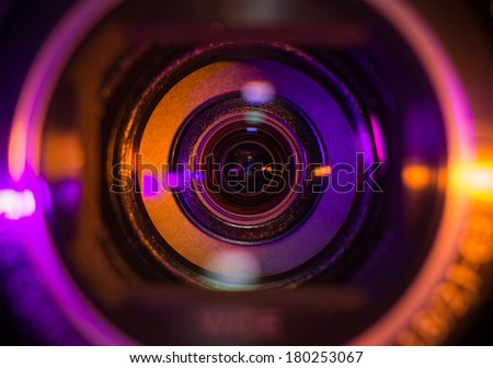 Camcorder lens closeup  - stock photo