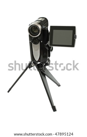 Camcorder on a tripod. Close-up. Isolated on a white background. - stock photo