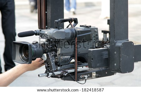 camcorder on the crane, video camera on the crane  - stock photo