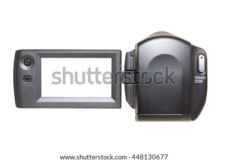 Camcorder with blank white LCD. - stock photo