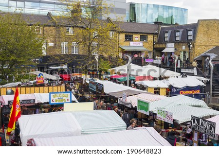 CAMDEN, LONDON, ENGLAND-APRIL 18 2014, Easter, Good Friday, views of stalls and goods at famous Camden Market. April 18,2014, Camden, London, England. - stock photo