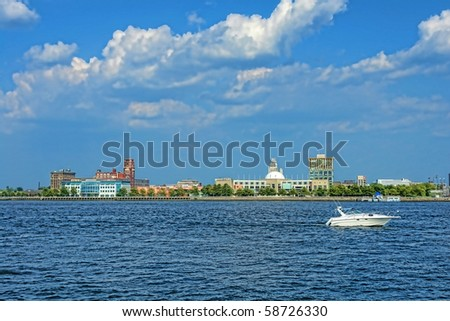 Camden New Jersey waterfront scenic cityscape view from across the Delaware River from Philadelphia - stock photo
