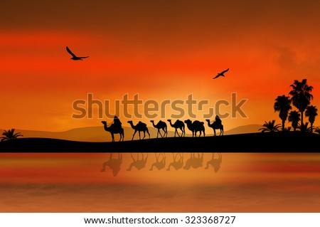 Camel caravan going through the desert on beautiful on sunset, background illustration - stock photo