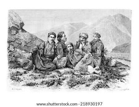 Camel Drivers Resting, vintage engraved illustration. Le Tour du Monde, Travel Journal, 1881 - stock photo