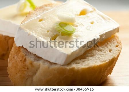 Camembert - mini sandwiches - stock photo