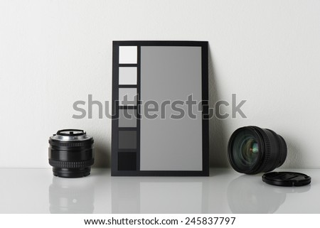 camera color correction, equipment for professional photographer - stock photo