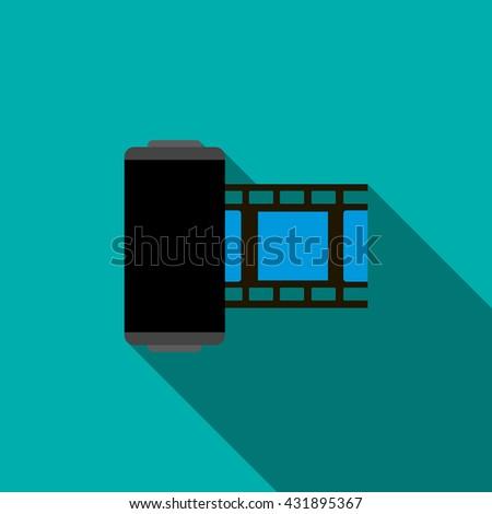 Camera film roll icon, flat style  - stock photo