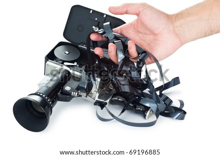 Camera film tangled - stock photo