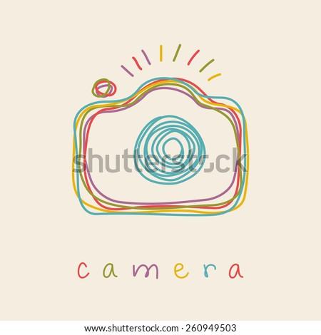 Camera icon. Doodle hand drawn sign in sketch childish style. Original decorative illustration for print, web - stock photo