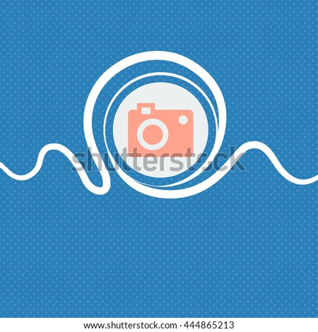 camera icon sign. Blue and white abstract background flecked with space for text and your design. illustration - stock photo