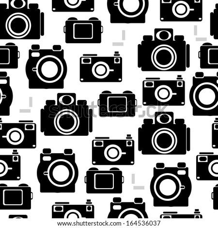 camera icons of seamless pattern - stock photo