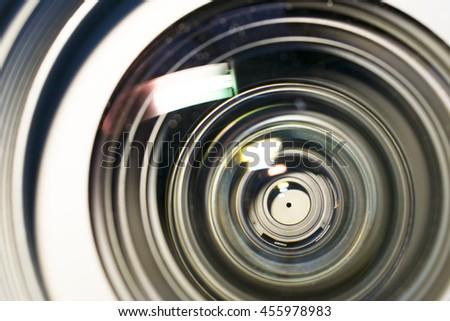 Camera lens close up. - stock photo