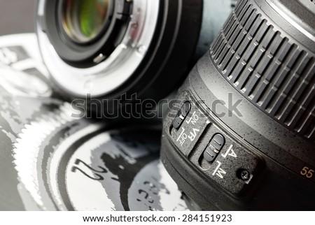 Camera lens details. - stock photo