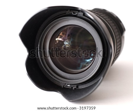 Camera lens front view. On white. - stock photo