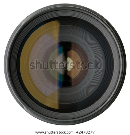 Camera lens isolated on white background - stock photo
