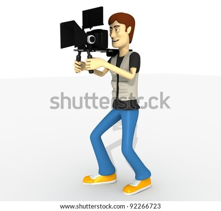 camera man with camera whole body - stock photo