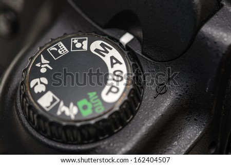Camera mode dial Manual mode - stock photo