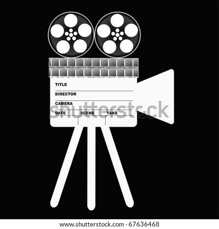 camera Movie Clapper Board - stock photo