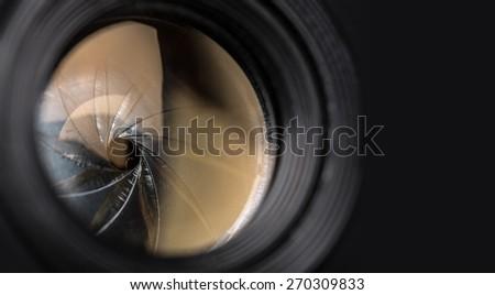 Camera, photo, auto-focus. - stock photo