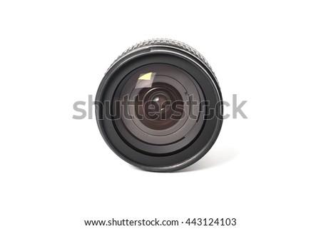 Camera photo lens isolated on white background - stock photo