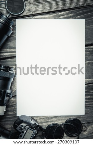 Camera. Photography concept with dslr camera lense and copyspace - stock photo