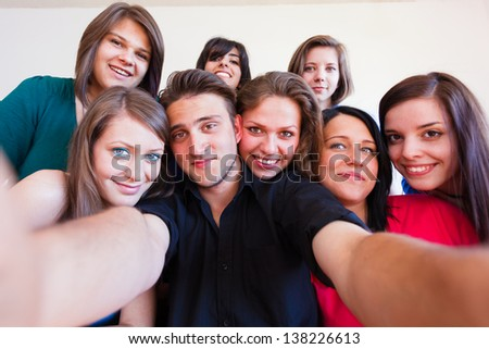 Camera's point of view while taking a selfportrait - selfpic series. - stock photo