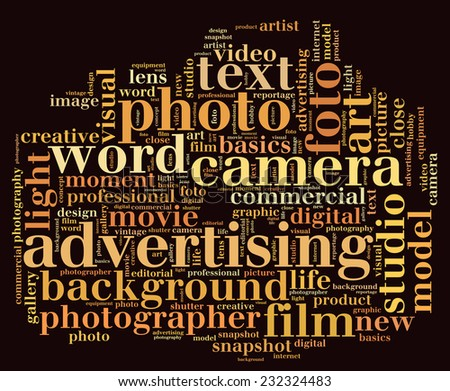 Camera shape word cloud - stock photo