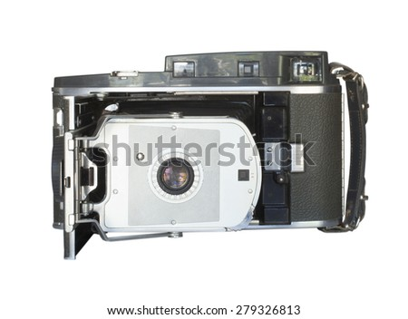 Camera that opens with a bellows to take instant film photos - stock photo