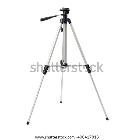 Camera tripod over isolated white background - stock photo