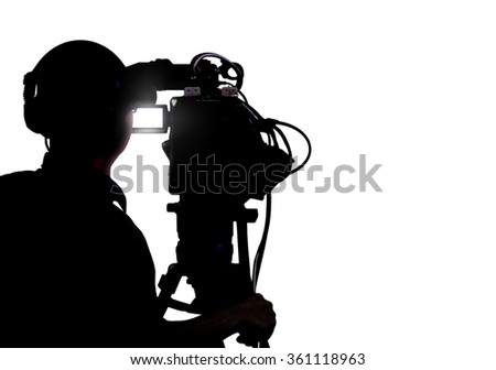 Cameraman shooting over white - stock photo