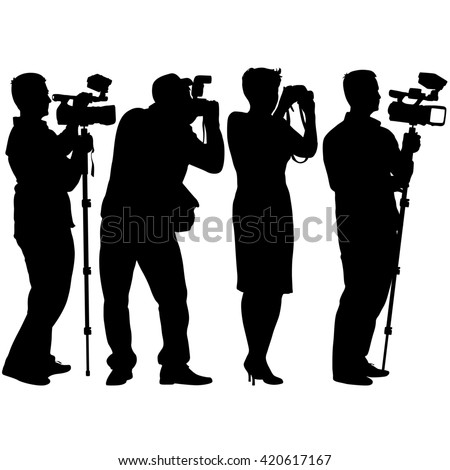 Cameraman with video camera. Silhouettes on white background. illustration. - stock photo