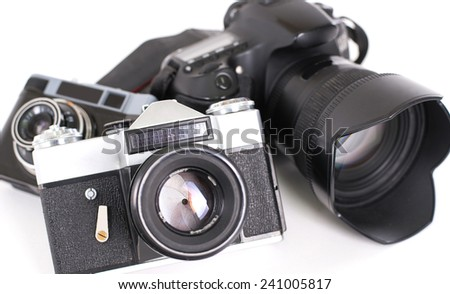 Cameras  isolated on white background - stock photo
