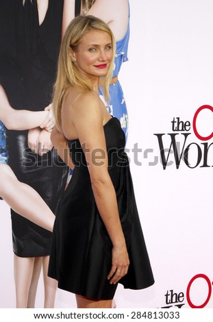 """Cameron Diaz at the Los Angeles premiere of """"The Other Woman"""" held at the Regency Village Theatre in Los Angeles on April 21, 2014 in Los Angeles, California. - stock photo"""